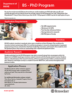 BS-PhD Program One-Page